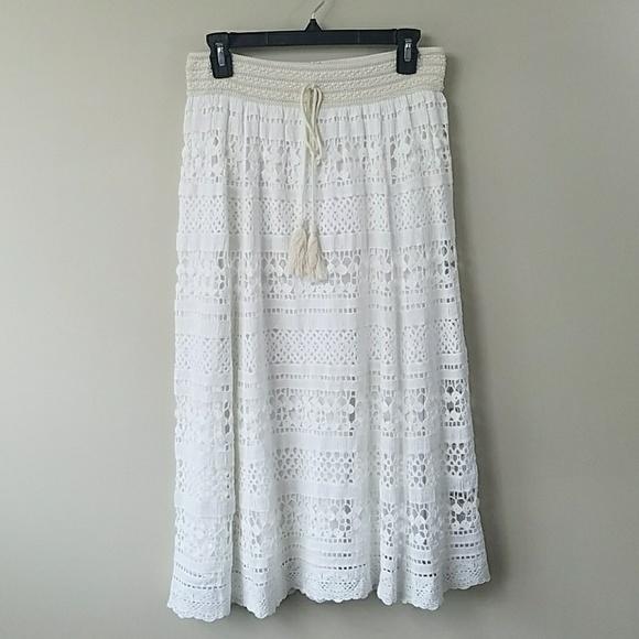1f20cfd461 Anthropologie Dresses & Skirts - Anthropologie Mermaid White Crochet Midi  Skirt